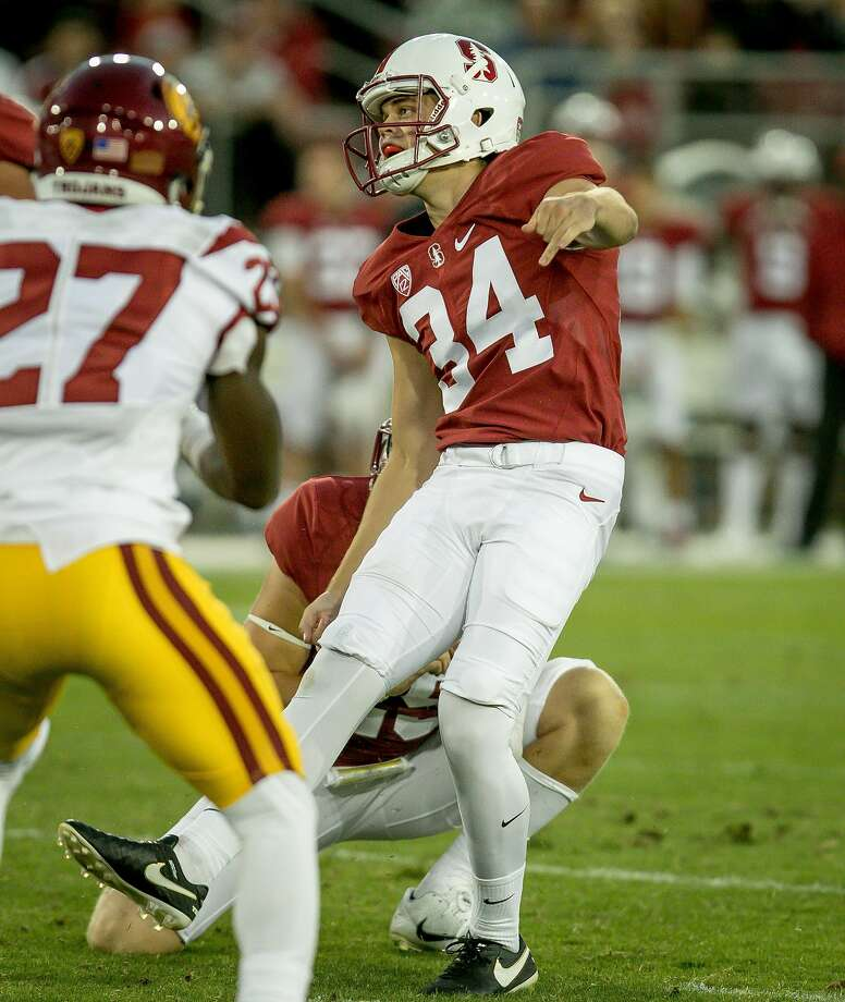 Kicker Conrad Ukropina #34 of the Stanford Cardinal kicks a field goal at Stanford, Calif. on September 17th, 2016. Photo: John Storey, Special To The Chronicle