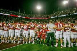 The whole Stanford football team sing a song after their victory over USC at Stanford, Calif. on September 17th, 2016.