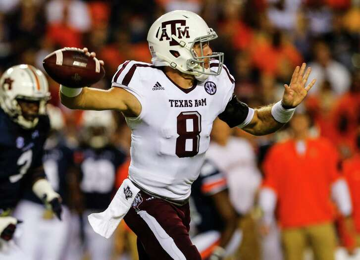 AUBURN, AL - SEPTEMBER 17:  Quarterback Trevor Knight #8 of the Texas A&M Aggies throws a pass against the Auburn Tigers during an NCAA college football game on September 17, 2016 in Auburn, Alabama. (Photo by Butch Dill/Getty Images)