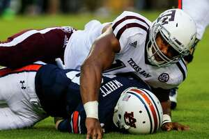 Defensive end Myles Garrett collected two of the Aggies' four sacks against Auburn quarterbacks in a 29-16 win to open Southeastern Conference play.
