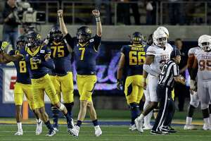 California quarterback Davis Webb (7) celebrates at the end of the team's 50-43 win over Texas in an NCAA college football game Saturday, Sept. 17, 2016, in Berkeley, Calif. (AP Photo/Ben Margot)