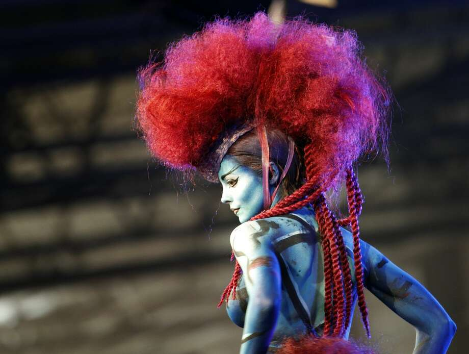 A model performs during the MCB fair, an event devoted to the beauty business, hair, beauty, aesthetic, make-up and nails in Paris, France, Monday, Sept. 12, 2016. (AP Photo/Christophe Ena) Photo: Christophe Ena/AP