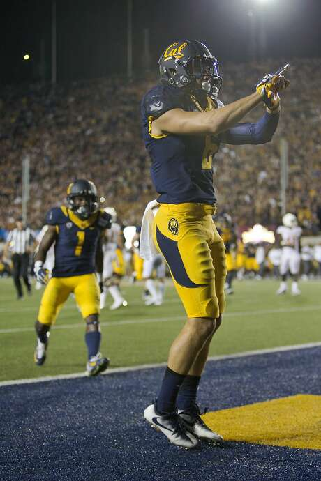 Cal wide receiver Chad Hansen celebrates a two-point conversion against the Texas Longhorns in a Sept. 17 game, one of several at Memorial Stadium this past season that ran well into the night. Photo: Brian Bahr, Getty Images