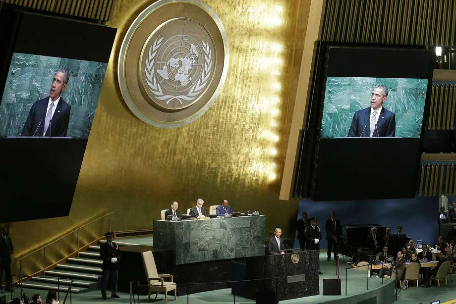 FILE - In this Monday, Sept. 28, 2015 file photo, United States President Barack Obama addresses the 70th session of the United Nations General Assembly at U.N. headquarters. World leaders meeting at the United Nations starting Monday, Sept. 19, 2016, will be trying to make progress on two intractable problems at the top of the global agenda — the biggest refugee crisis since World War II and the Syrian conflict now in its sixth year which has claimed over 300,000 lives. (AP Photo/Mary Altaffer) Photo: Mary Altaffer, Associated Press