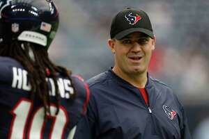 Houston Texans head coach Bill O'Brien laughs with wide receiver DeAndre Hopkins (10) before the start of an NFL football game at NRG Stadium, Sunday, Sept. 18, 2016 in Houston.