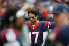 Houston Texans quarterback Brock Osweiler (17) reacts after a failed touchdown pass during the second quarter of an NFL game at NRG Stadium Sunday, Sept. 18, 2016 in Houston.