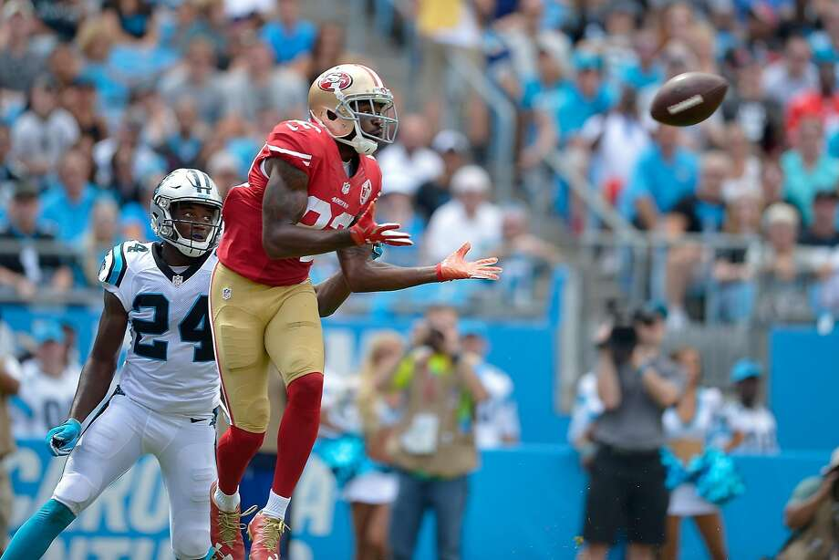 Torrey Smith #82 of the San Francisco 49ers makes a touchdown catch against James Bradberry #24 of the Carolina Panthers during the game at Bank of America Stadium on September 18, 2016 in Charlotte, North Carolina.  (Photo by Grant Halverson/Getty Images) Photo: Grant Halverson, Getty Images