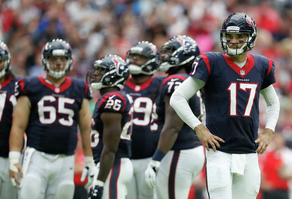 Houston Texans quarterback Brock Osweiler (17) between plays during the fourth quarter of an NFL football game at NRG Stadium, Sunday, Sept. 18, 2016 in Houston.