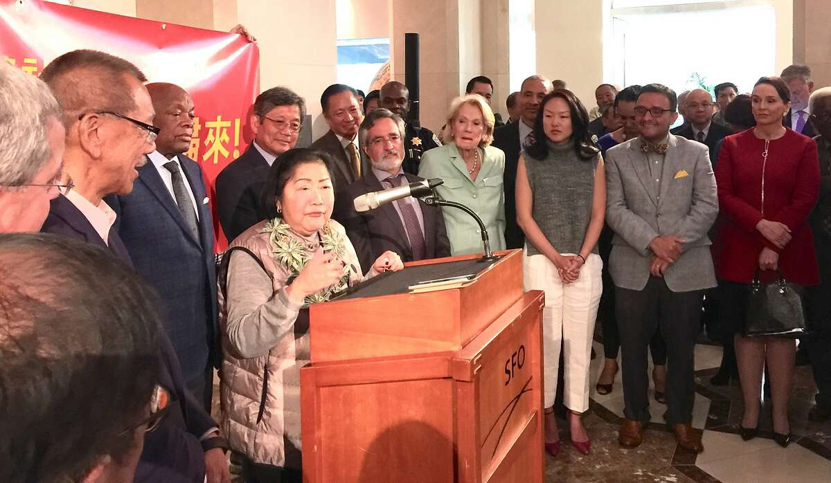 Chinatown power broker Rose Pak greeted at San Francisco International by San Francisco political leaders on her return from China where she received a new kidney.