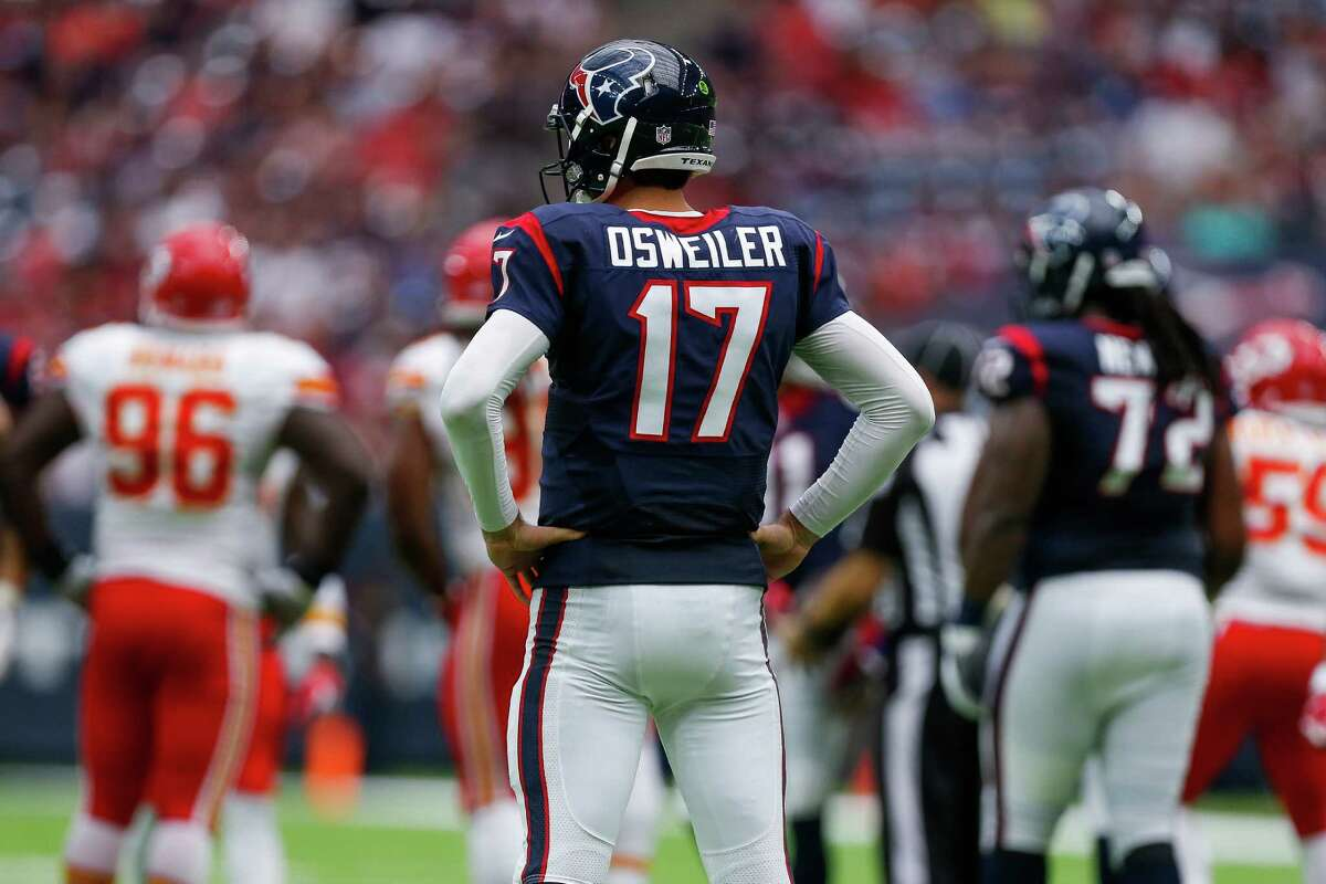 Houston Texans quarterback Brock Osweiler (17) reacts after an incomplete pass during the second half of an NFL game at NRG Stadium Sunday, Sept. 18, 2016 in Houston.