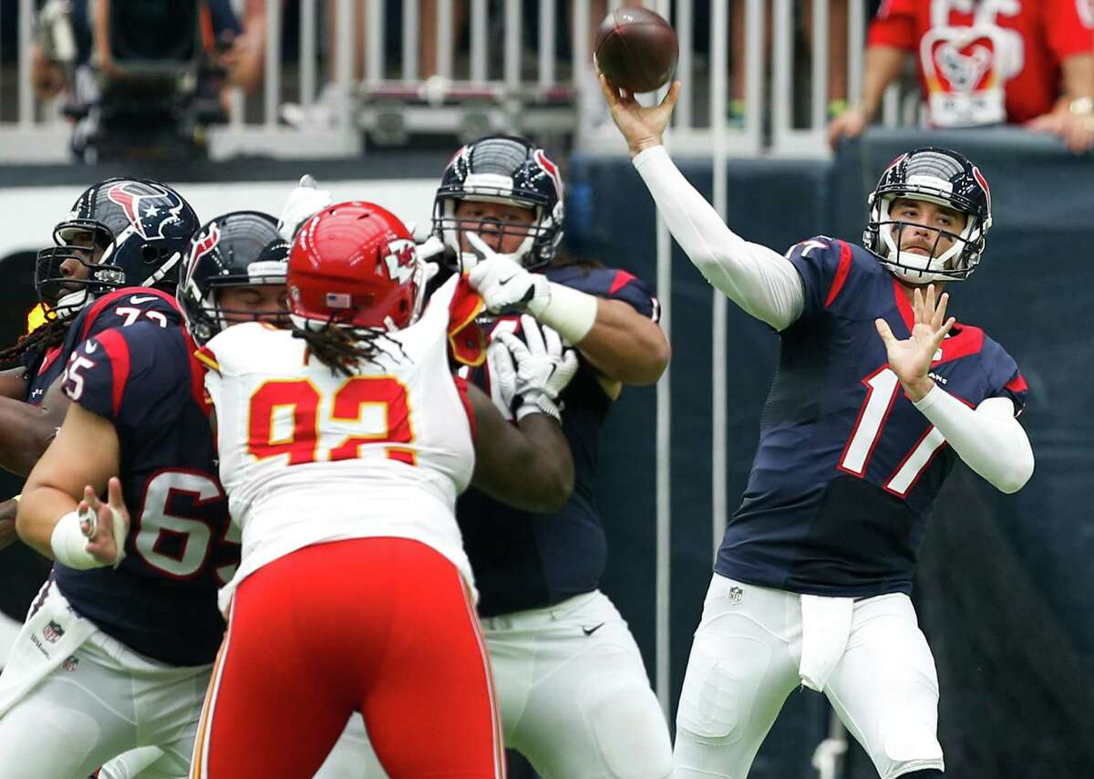 QUARTERBACK Brock Osweiler (above) threw a 27-yard touchdown pass to DeAndre Hopkins, but he also threw two interceptions at Kansas City's goal line and 21-yard line. That's three in two games. It takes time for an offense to come together with so many new players. Grade: C