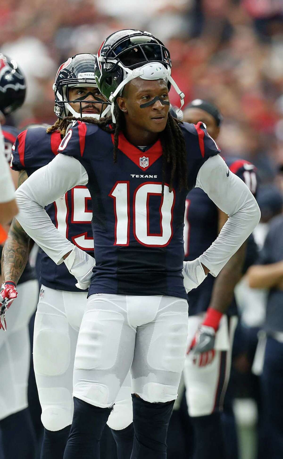 Houston Texans wide receiver DeAndre Hopkins (10) argues with a referee that his catch in the end zone should have been called a touchdown during the second quarter of an NFL football game at NRG Stadium, Sunday, Sept. 18, 2016 in Houston.