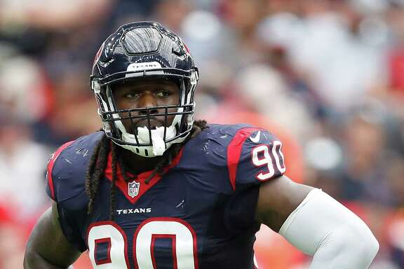 Houston Texans defensive end Jadeveon Clowney (90) during a time out in the second quarter of an NFL football game at NRG Stadium, Sunday, Sept. 18, 2016 in Houston.
