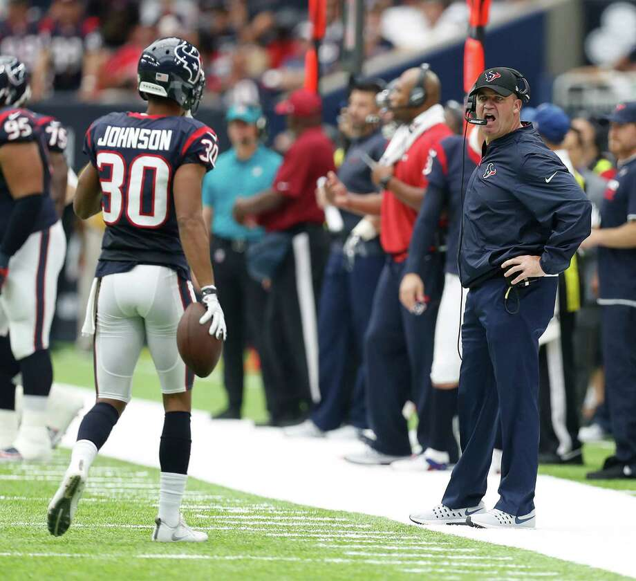 Houston Texans head coach Bill O'Brien as yells as cornerback Kevin Johnson (30) comes back to the bench during the first half of an NFL football game at NRG Stadium, Sunday, Sept. 18, 2016 in Houston. Photo: Karen Warren, Houston Chronicle / 2016 Houston Chronicle