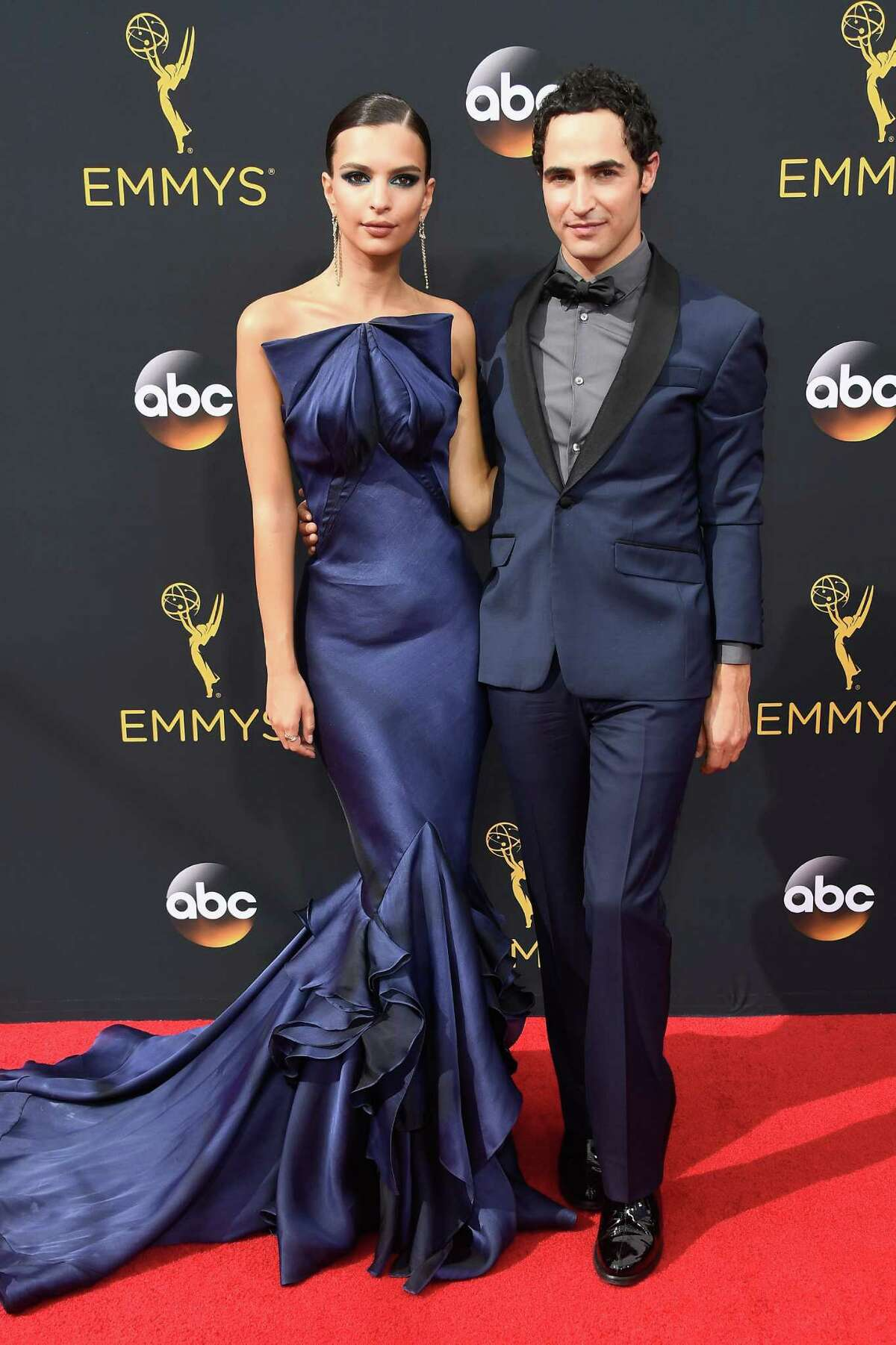 BEST : Emily Ratajkowski with designer Zac Posen. She looked stunning, but together they are like blue-satin salt-and-pepper shakers. Seriously.