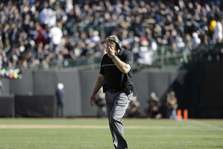 Oakland Raiders head coach Jack Del Rio walks on the field during the second half of an NFL football game against the Atlanta Falcons in Oakland, Calif., Sunday, Sept. 18, 2016. The Falcons won 35-28. (AP Photo/Marcio Jose Sanchez) Photo: Marcio Jose Sanchez, Associated Press