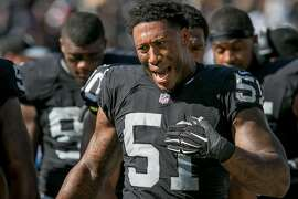 Bruce Irvin #51 of the Oakland Raiders upset after the Falcons scored at the Oakland-Alameda Coliseum in Oakland, Calif. on September 18th, 2016.