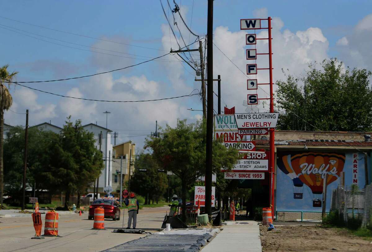 Construction continues along Dowling Street in front of Wolf's in the Third Ward, Friday, Sept. 16, 2016, in Houston. Originally named East Broadway, city leaders renamed the street after a Confederate general, Richard Dowling, in 1892. Now a group of city leaders hopes to changes the name of the street to Emancipation Avenue.