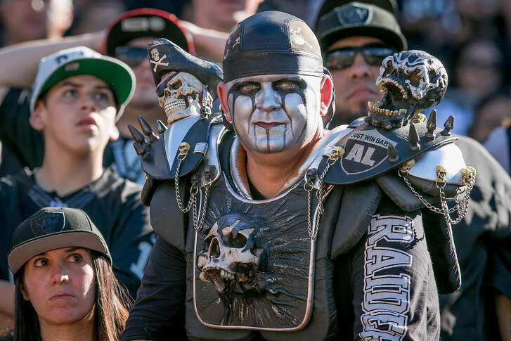 Upset Raider fans at the loss to the Falcons at the Oakland-Alameda Coliseum in Oakland, Calif. on September 18th, 2016.
