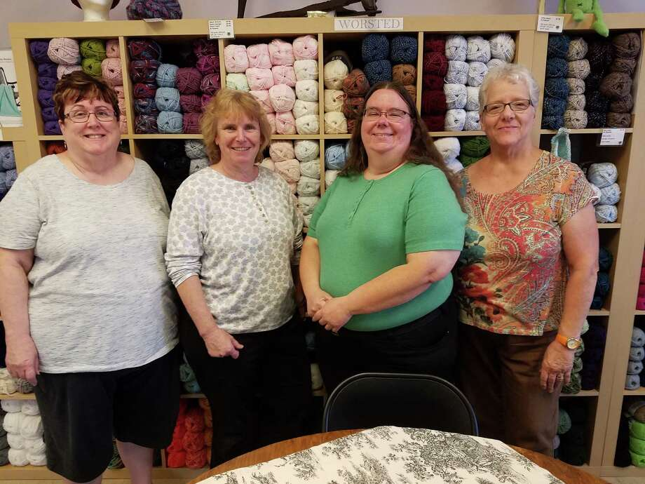 Four of the new owners of The Spinning Room in Altamont: From left, Kathy Loegering, Lisa Bates, Nancy Cobb and Yvette Terplak. Sept. 13, 2016 (Cathleen F. Crowley/Times Union)