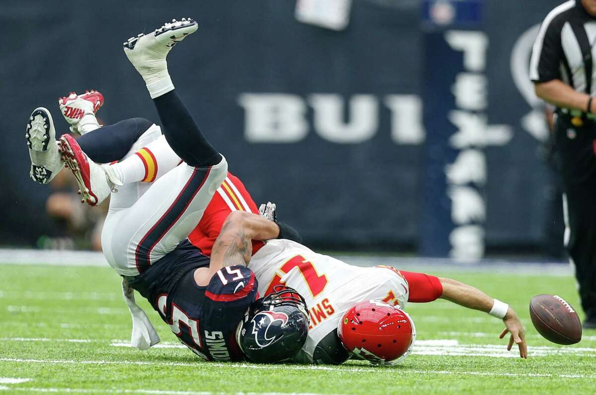 LB John Simon's second-quarter sack of Kansas City's Alex Smith (11), led to one of three defensive takeaways for the opportunistic Texans defense. Smith lost two fumbles.