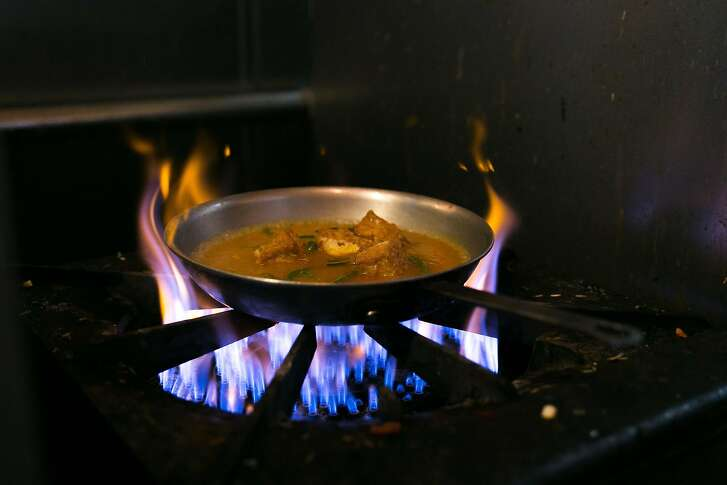Curry cooks on the stove at Cuisine of Nepal in S.F.