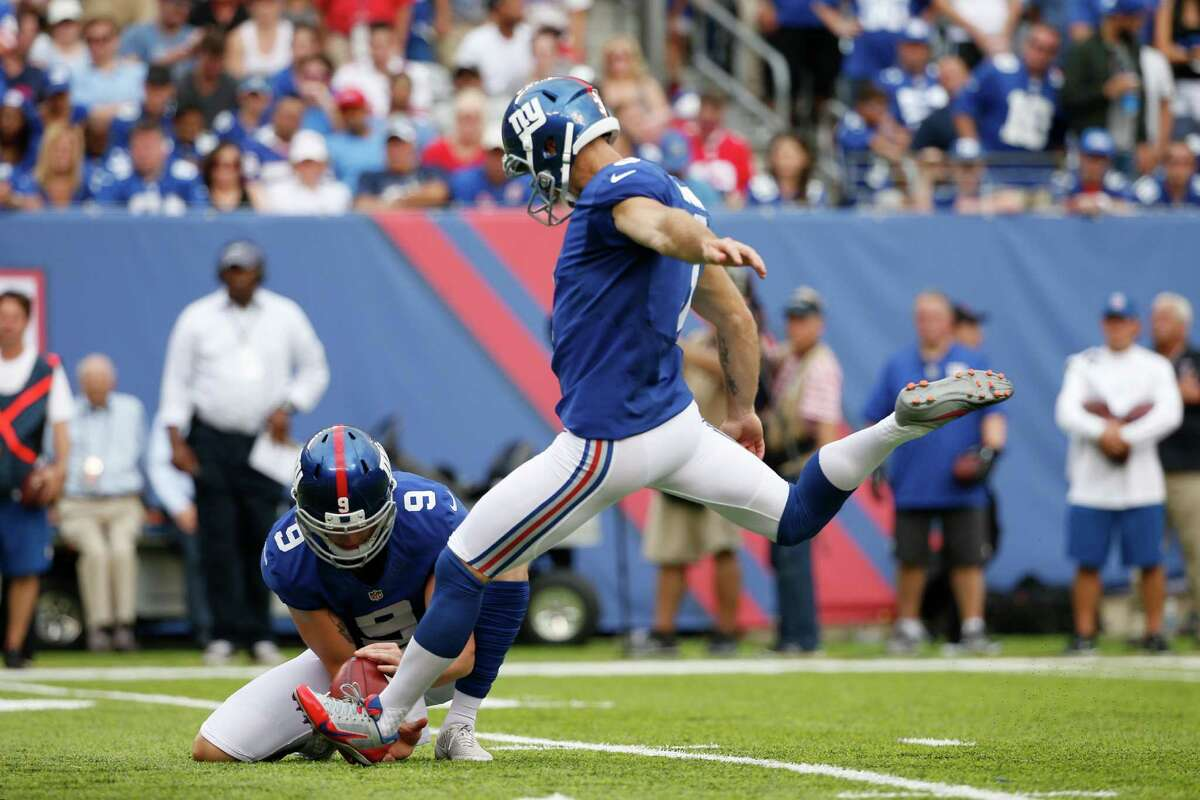 New York Giants kicker Josh Brown (3) kicks a field goal during the second half of an NFL football game against the New Orleans Saints Sunday, Sept. 18, 2016, in East Rutherford, N.J. (AP Photo/Kathy Willens) ORG XMIT: ERU117