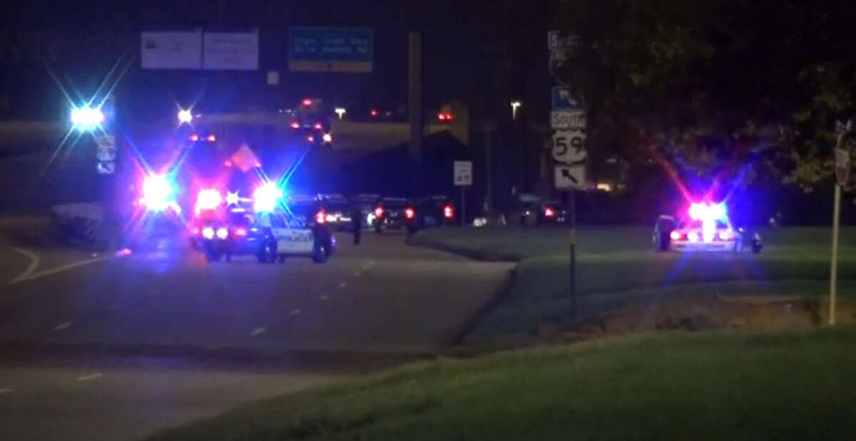 A suspect died about 4 a.m. Monday, Sept. 19, 2016, after firing gunshots at police officers during a chase that began in downtown and ended along U.S. 59 near Kirkwood in southwest Houston. (Metro Video)