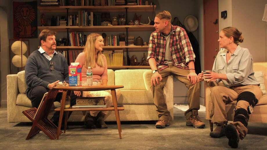 "From left, Chris Foster, Allison Tebbano, Tom Templeton and Amy Lane in ""Time Stands Still"" at Curtain Call Theatre. (CCT publicity photo.)"