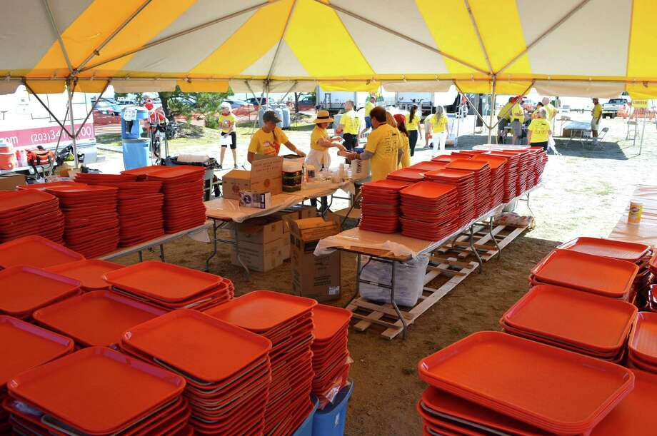The 1,500 trays used to serve the hungry guests at the annual Westport Rotary Lobster Fest on Saturday, Sept. 17, 2016, in Westport, Conn. Photo: Jarret Liotta / For Hearst Connecticut Media / Westport News Freelance