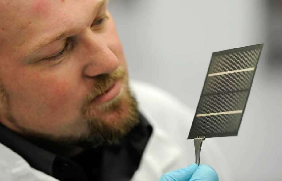 A solar cell on display at SUNY Polytechnic Institute's Halfmoon facility that was once owned by Veeco Instruments.  Source: Times Union archives.