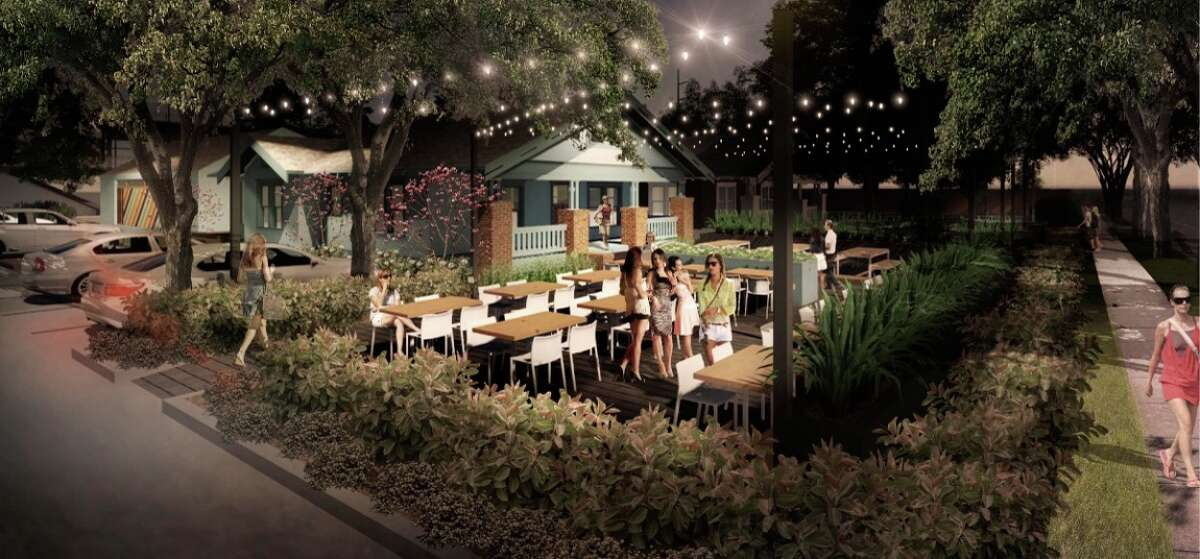 A rendering of Heights Mercantile, which will include three repurposed 1930s bungalows with wooden decking. A brick and mortar Melange Creperie will be located here.