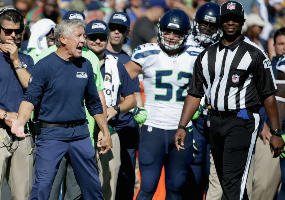 Head coach Pete Carroll of the Seattle Seahawks argues a call in the fourth quarter of the home opening NFL game against the Los Angeles Rams at Los Angeles Coliseum on September 18, 2016 in Los Angeles, California.  (Photo by Jeff Gross/Getty Images) Photo: Jeff Gross/Getty Images