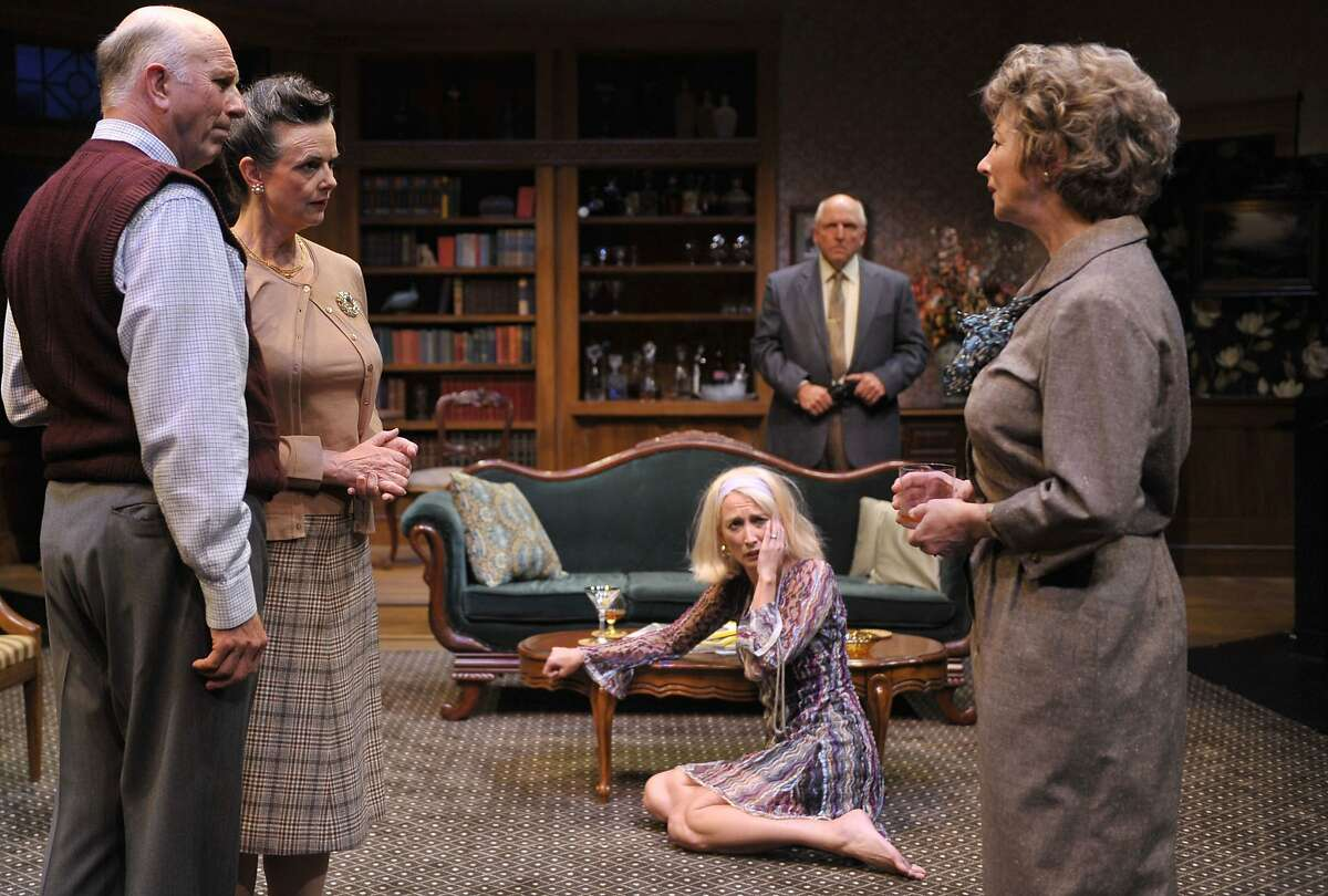 """Agnes (Kimberly King, right) tries to keep the peace between friends Harry and Edna (Charles Dean and Anne Darragh, left) her daughter Julia (Carrie Paff) and husband Tobias (Ken Grantham) in Edward Albee's """"A Delicate Balance"""" at Aurora Theatre"""