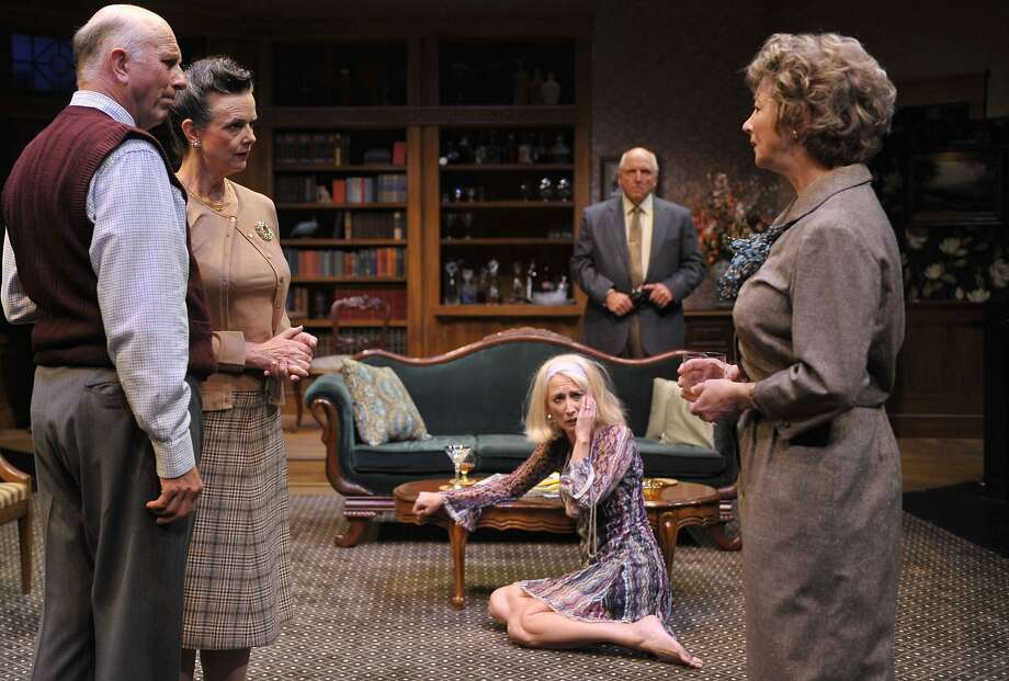 "Agnes (Kimberly King, right) tries to keep the peace between friends Harry and Edna (Charles Dean and Anne Darragh, left) her daughter Julia (Carrie Paff) and husband Tobias (Ken Grantham) in Edward Albee's ""A Delicate Balance"" at Aurora Theatre Photo: David Allen"
