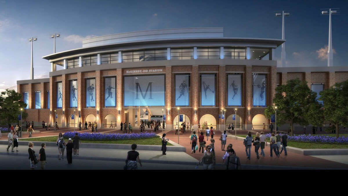 This rendering shows McKinney Independent School District's proposed high school football stadium, slated to debut in fall 2017 at a cost of about $70 million.