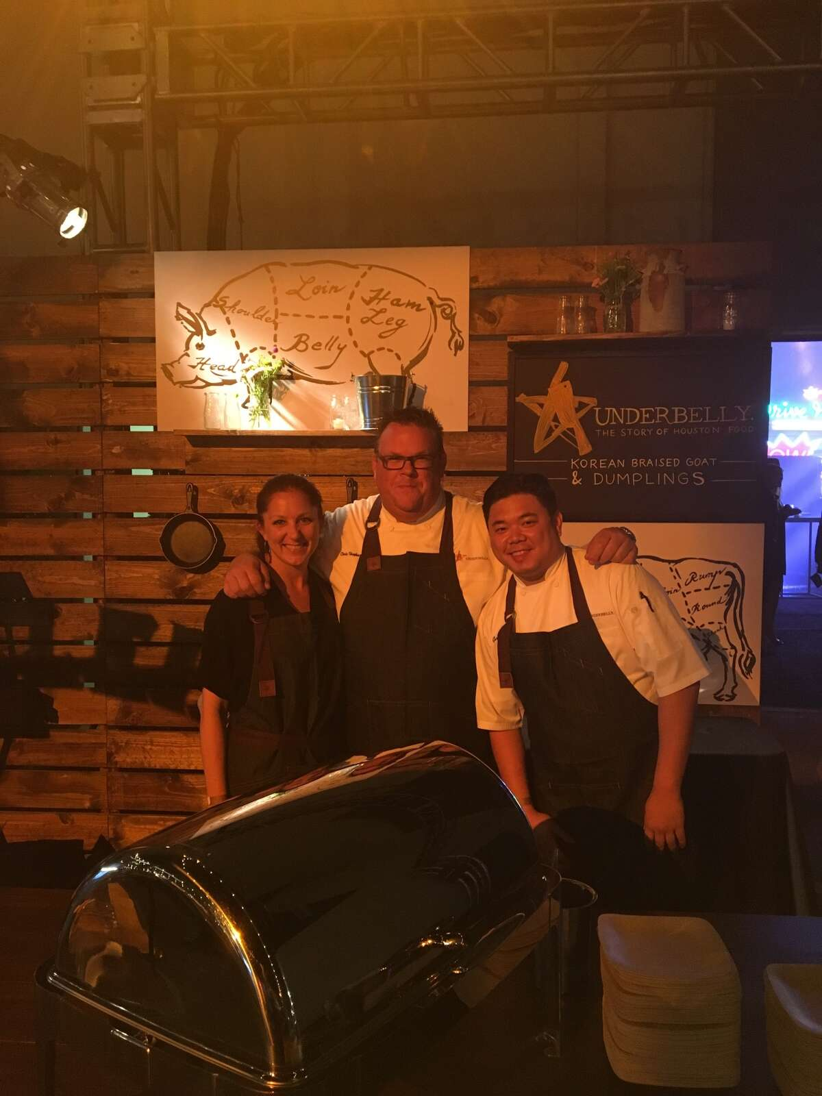 Lindsey Brown, Chris Shepherd (center), and Underbelly sous chef Gary Ly are pictured at Jimmy Kimmel's 2016 Emmy after party on Sunday, Sept. 18, 2016. >>KEEP CLICKING TO SEE WHAT ELSE IS COOKING AT UNDERBELLY.