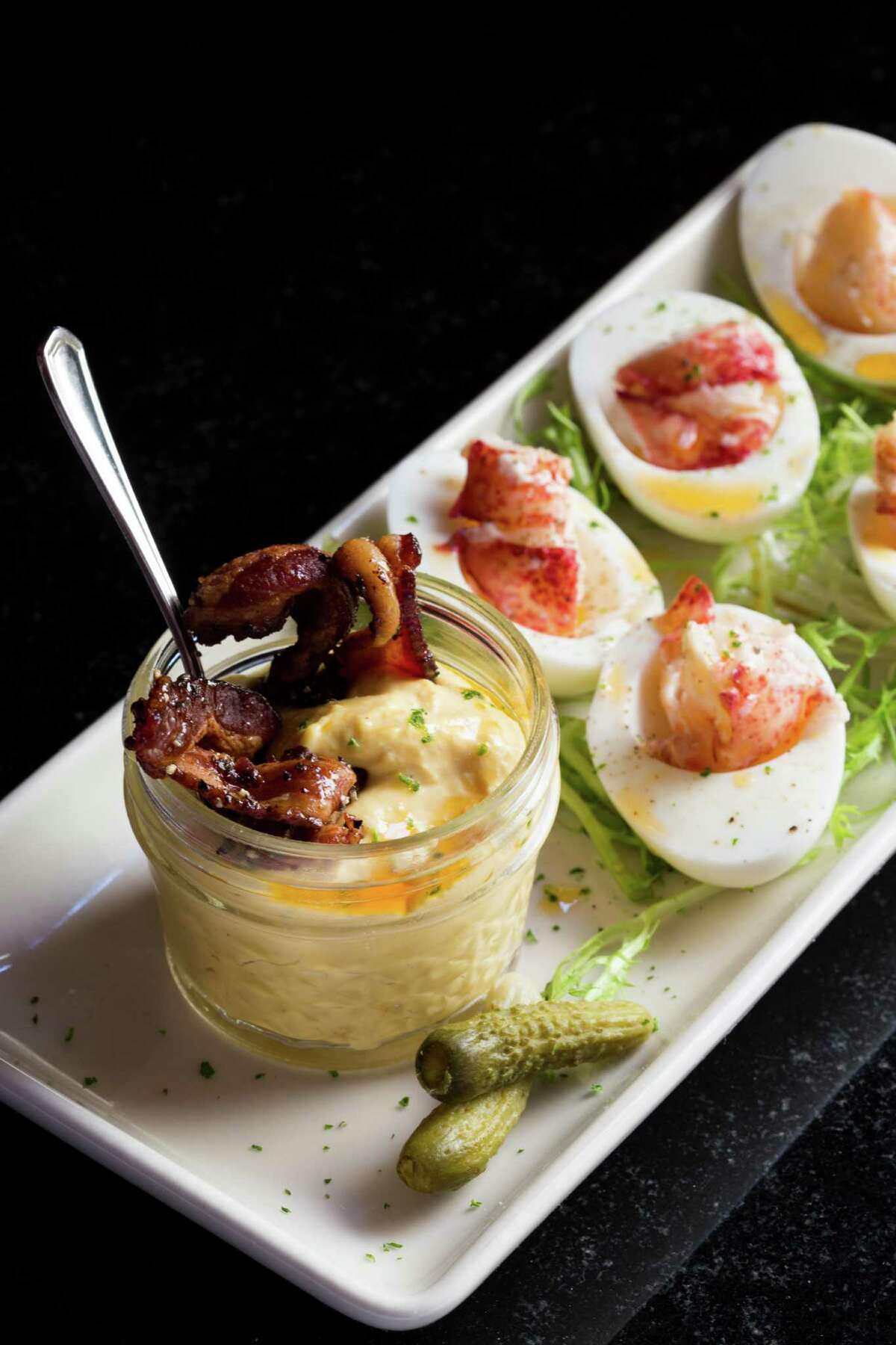 Lobster deviled eggs at Pappas Bros. Steakhouse