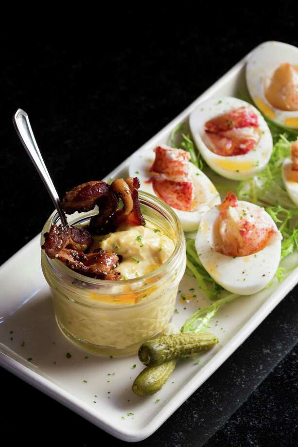 Lobster deviled eggs at Pappas Bros. Steakhouse Photo: Pappas Bros.