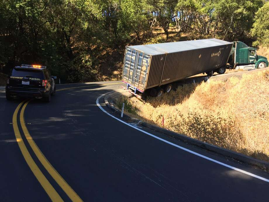 CHP officials closed Lucas Valley Road in San Rafael after a big-rig became stuck on a hillside on Monday morning. Photo: CHP / /