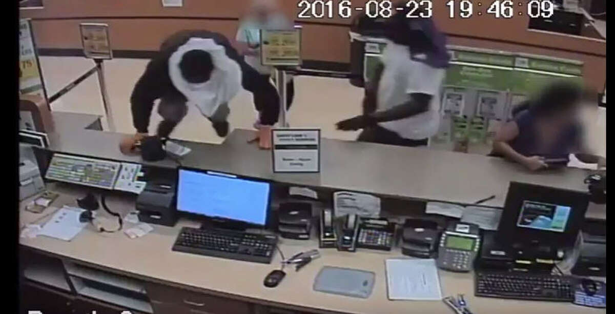 Authorities are searching for four suspects in a robbery about 6:50 p.m. Aug. 23, 2016, at a grocery store in the 1600 block of South Voss in west Houston. (Crime Stoppers)