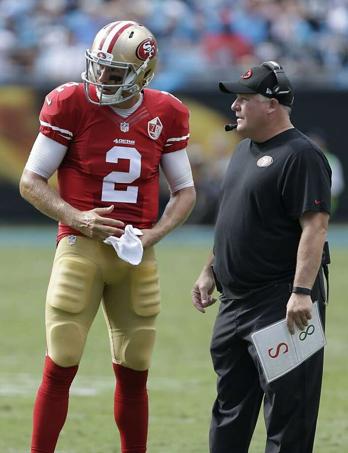 San Francisco 49ers head coach Chip Kelly, right, talks with Blaine Gabbert, left, in the second half of an NFL football game against the Carolina Panthers in Charlotte, N.C., Sunday, Sept. 18, 2016. (AP Photo/Bob Leverone) Photo: Bob Leverone, Associated Press