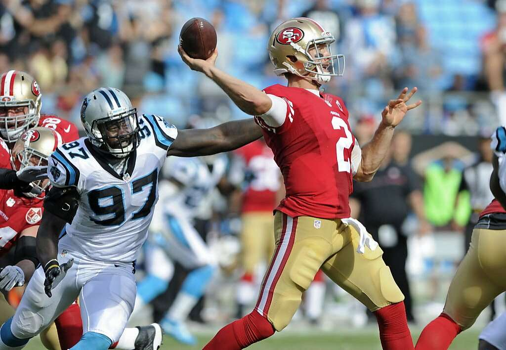 ... S.F. quarterback is pressured from behind by Carolinas Mario Addison.  Gabbert completed fewer than half ... b20e4f9f3