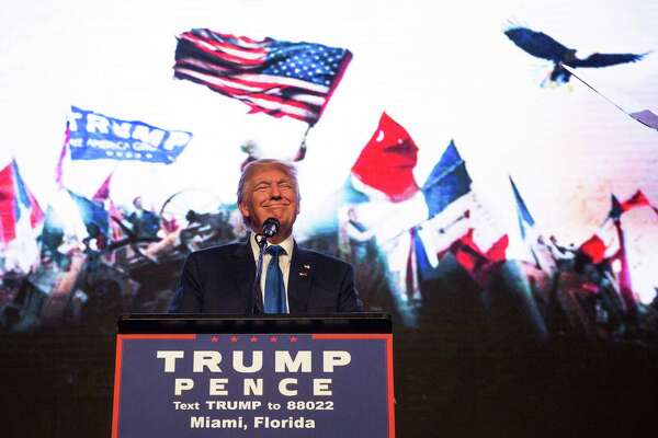 Donald Trump, the Republican presidential nominee, speaks during a campaign event at the James L. Knight Center in last week. Trump publicly retreated from his birther campaign on Friday, acknowledging that President Obama was born in the U.S. The problem: He has repeatedly said otherwise for the last five years or so.