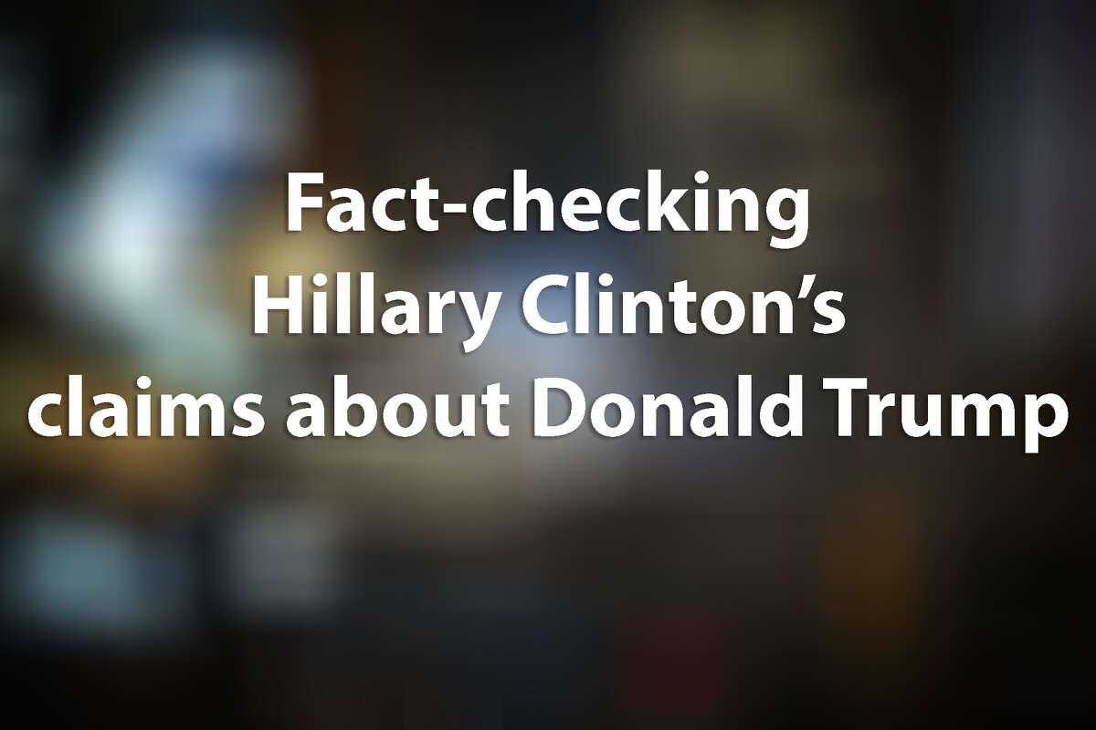 Fact check: Hillary Clinton takes liberties in Donald Trump takedown