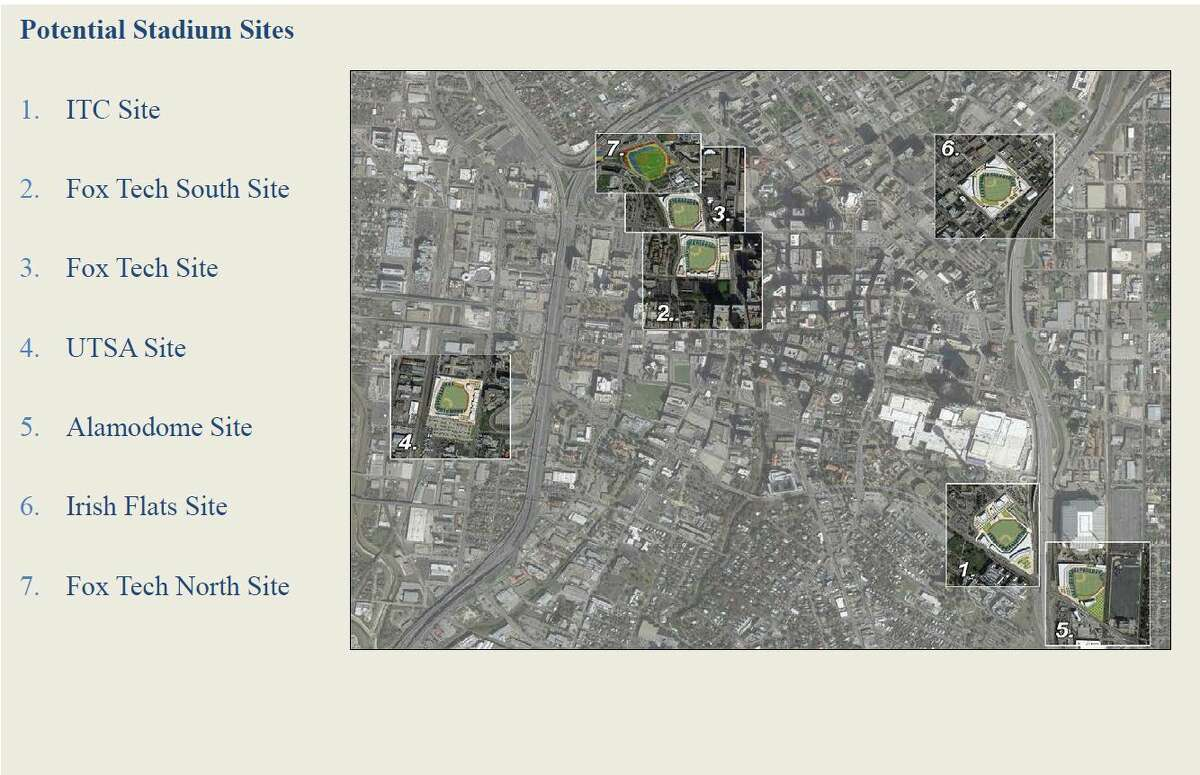 A map of seven potential sites for a new baseball stadium in San Antonio.