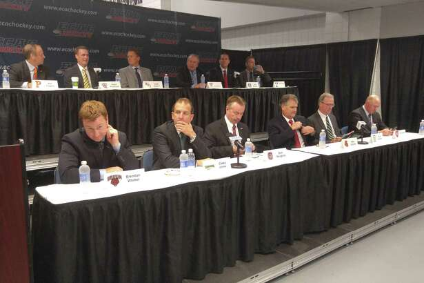 The 12 ECAC hockey head coaches were assembled Monday, Sept. 19, 2016, for media day. (Pete Dougherty/Times Union)