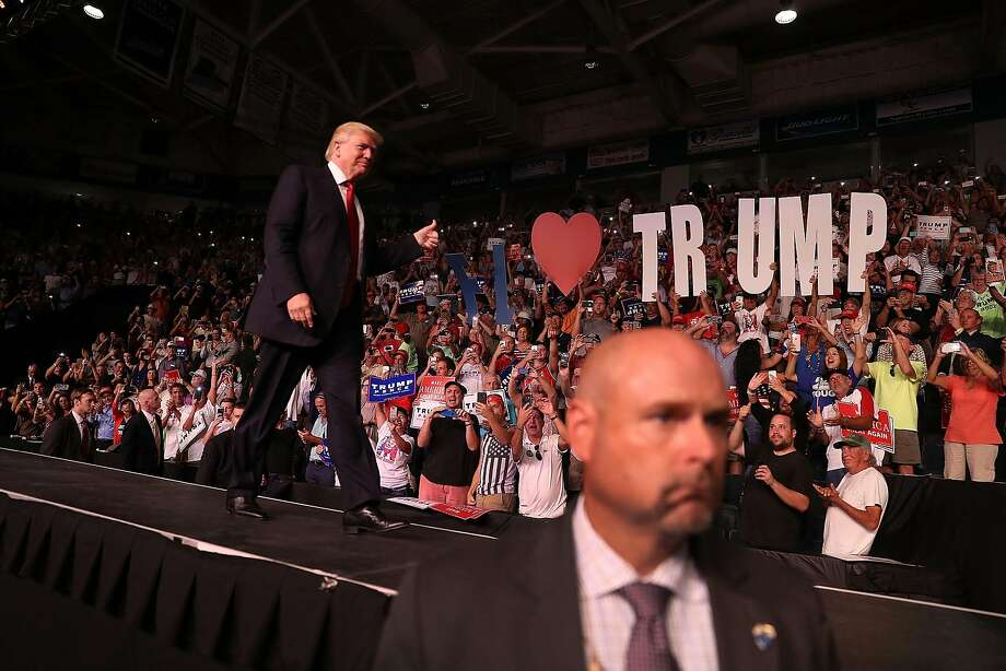 Republican presidential candidate Donald Trump arrives at a rally at the Germain Arena in Estero, Fla. That state is looking more favorable for him than California, where he trails Hillary Clinton by a margin of 50 percent to 33 percent. Photo: Joe Raedle, Getty Images