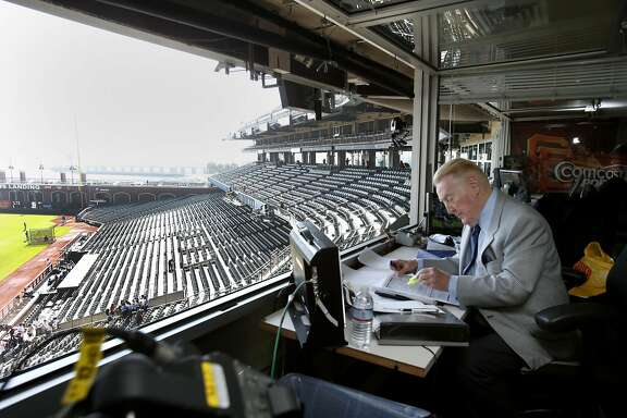 Vin Scully is making notes about the days broadcast even before the fans enter the ballpark Sunday September 14, 2014 at AT&T park. Hall of Fame Los Angeles Dodgers announcer Vin Scully was at AT&T park for the last Giants series and after six decades is still in his prime.
