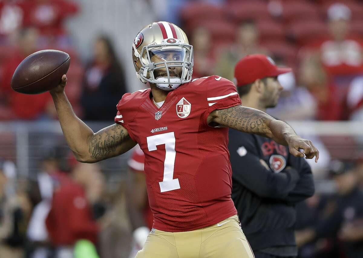 San Francisco 49ers quarterback Colin Kaepernick (7) warms up before an NFL football game between the 49ers and the Los Angeles Rams in Santa Clara, Calif., Monday, Sept. 12, 2016. (AP Photo/Marcio Jose Sanchez)